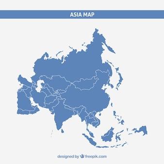 Mappa di asia in stile piano