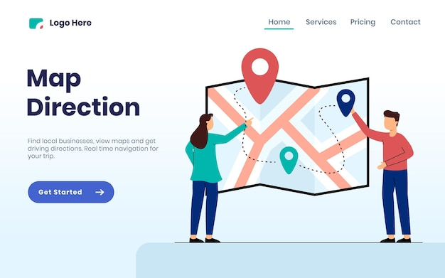 Concetto di pagina di destinazione della direzione della mappa con due persone che cercano una posizione