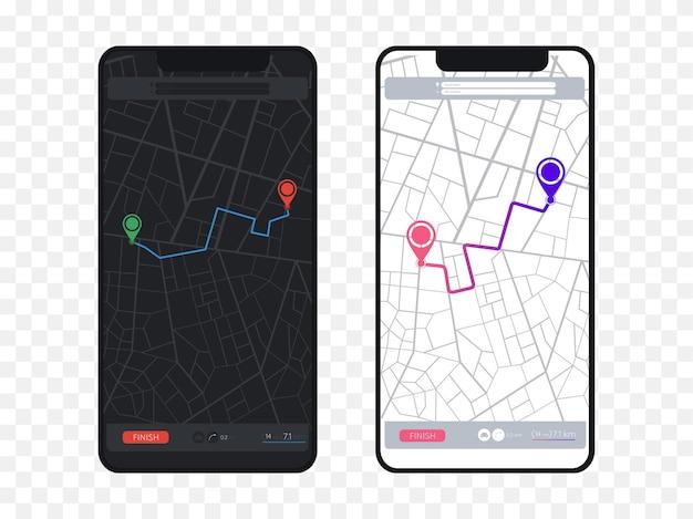Mappa di navigazione gps mappa stradale della città con perni percorso dashboard app navigatore percorso