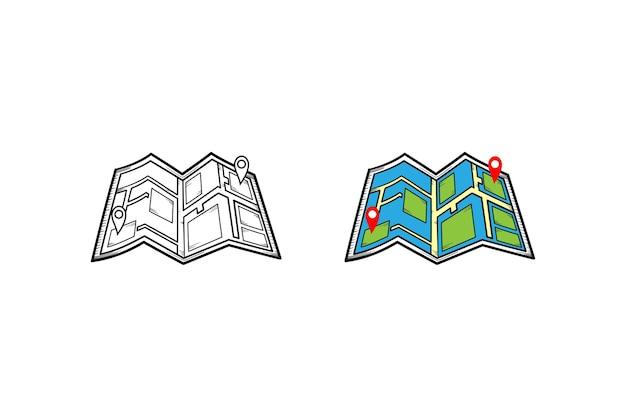 Schizzo e colore dell'illustrazione disegnata a mano della mappa