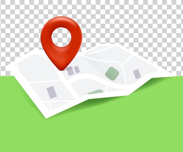 Posizione icona mappa con mappa e posizione pin 3d su sfondo bianco trasparente