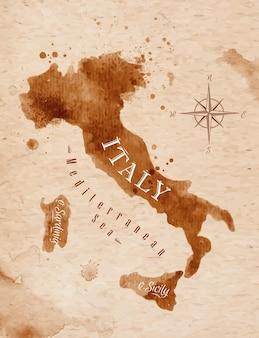 Mappa dell'italia in vecchio stile in formato vettoriale, grafica marrone in stile retrò