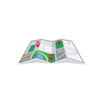 Modello di progettazione dell'illustrazione dell'icona della carta della mappa