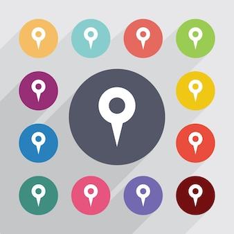 Perno della mappa, set di icone piatte. bottoni colorati rotondi. vettore