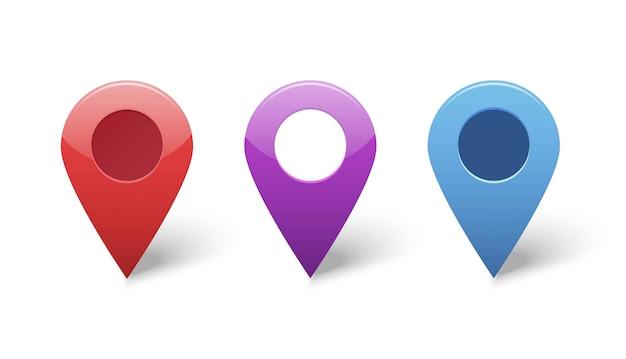 Indicatori di puntatore gps pin mappa per set di icone di posizione di destinazione