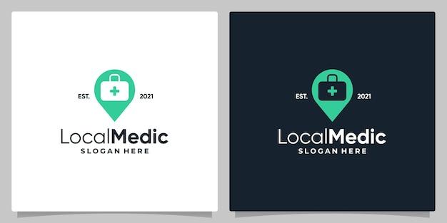 Simbolo della posizione del perno della mappa con il logo, una borsa medica e il design del biglietto da visita.