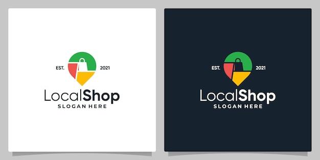 Simbolo della posizione del pin della mappa con logo, una shopping bag e un biglietto da visita.