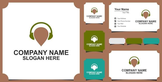Spilla o posizione della mappa con il concetto di logo delle cuffie e biglietto da visita vettore premium