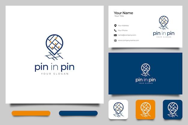 Mappa pin logo design creativo e modello di biglietto da visita