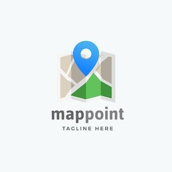 Mappa punto astratto vettoriale segno, emblema o modello di logo con pin posizione sul simbolo della mappa.