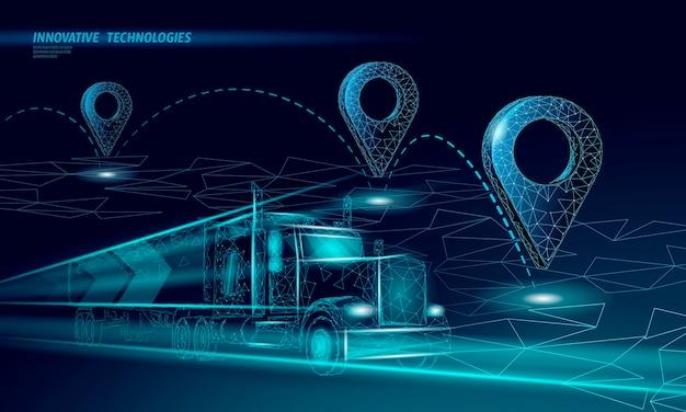 Mappa punto posizione simbolo aziendale. auto camion di consegna poligonale icona realistica in tutto il mondo. spedizione shopping online direzione città indirizzo posizione pin illustrazione.