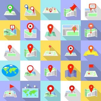 Icone del puntatore della mappa impostate. un'illustrazione piana di 25 icone del puntatore della mappa per il web