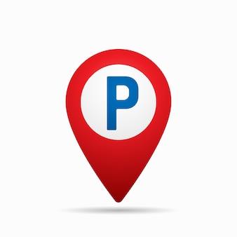 Puntatore della mappa con l'icona di parcheggio auto.