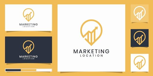 Puntatore della mappa con un design del logo della posizione di marketing
