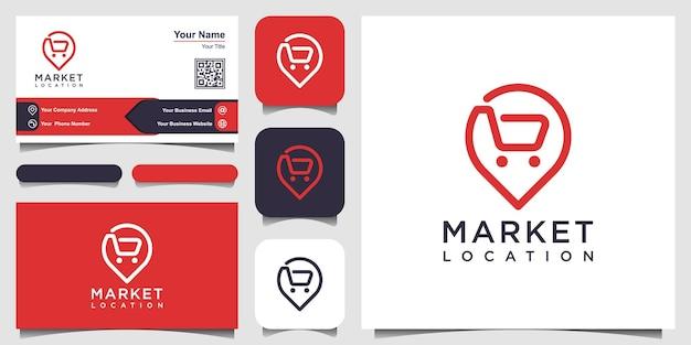 Puntatore della mappa con la posizione dello shopping, le mappe dei pin si combinano con il carrello. design del logo e del biglietto da visita.