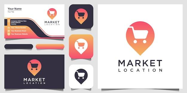Puntatore della mappa con la posizione dello shopping le mappe dei pin si combinano con il design del logo dello spazio negativo del cestino