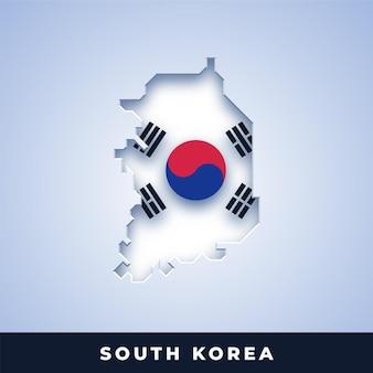 Mappa della corea del sud con bandiera