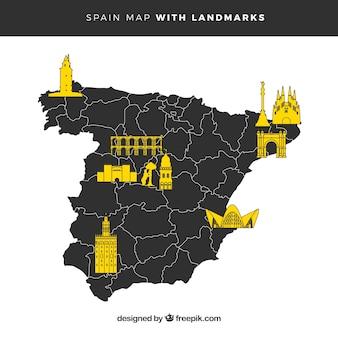 Mappa della spagna con monumenti