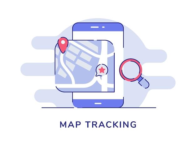 Mappa posizione del puntatore di concetto di rilevamento sul display dello schermo dello smartphone sfondo bianco isolato