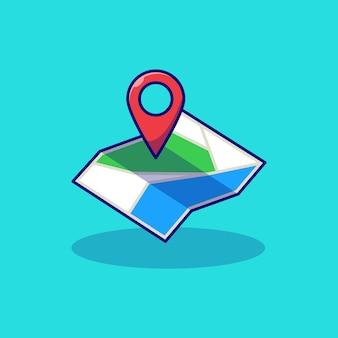 Mappa disegno di illustrazione vettoriale con segnaposto pin
