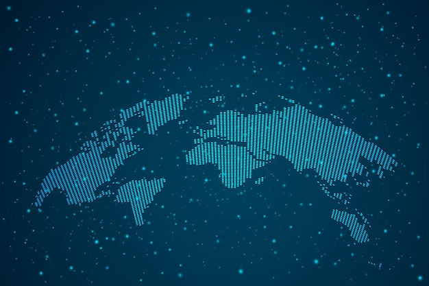 Mappa le scale dei punti del mondo su sfondo scuro con map world. wire frame 3d mesh rete poligonale linea, design sfera, punto e struttura. illustrazione vettoriale eps 10.