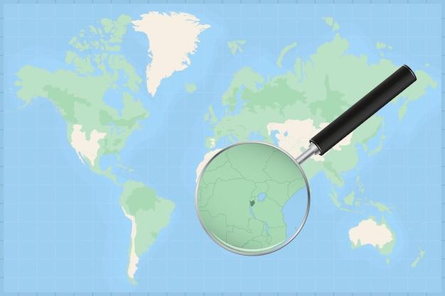 Mappa del mondo con una lente di ingrandimento su una mappa del burundi.
