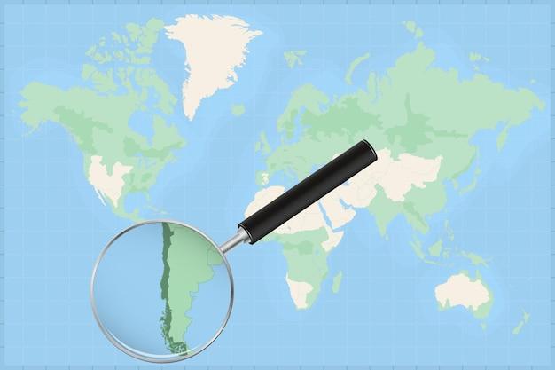 Mappa del mondo con una lente di ingrandimento su una mappa del cile.