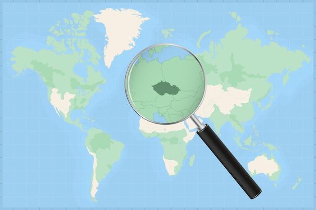 Mappa del mondo con una lente di ingrandimento su una mappa della repubblica ceca.