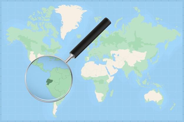 Mappa del mondo con una lente di ingrandimento su una mappa dell'ecuador.