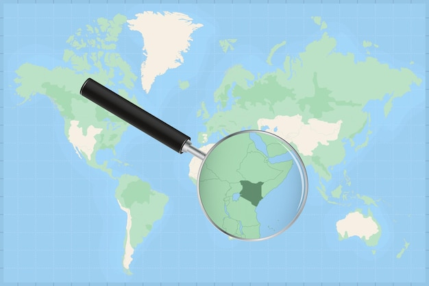 Mappa del mondo con una lente di ingrandimento su una mappa del kenya.