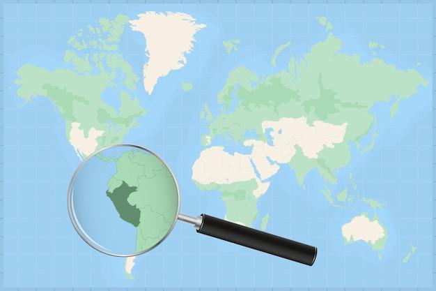 Mappa del mondo con una lente di ingrandimento su una mappa del perù.