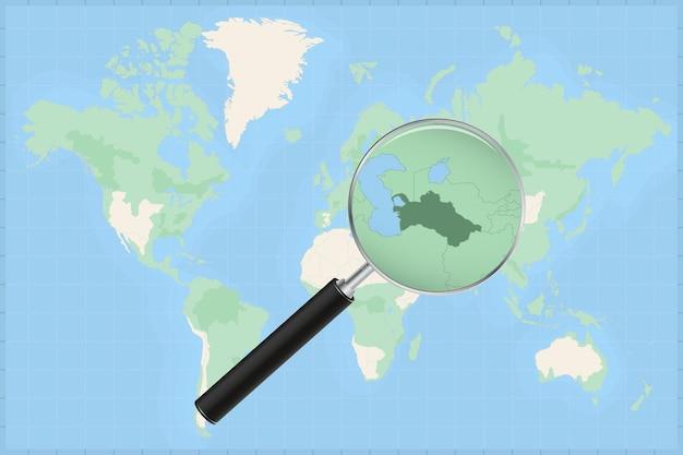 Mappa del mondo con una lente di ingrandimento su una mappa del turkmenistan.
