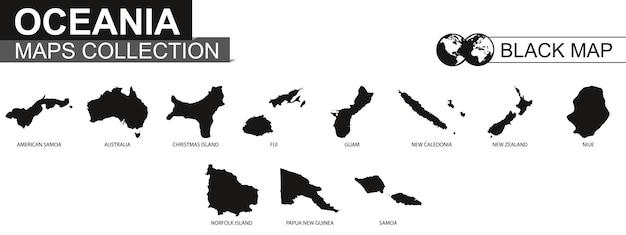 Raccolta di mappe dei paesi dell'oceania, mappe di contorno nere dell'oceania. insieme di vettore.