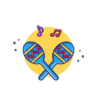 Illustrazione di icona del fumetto di maraca con note musicali. premio isolato concetto dell'icona dello strumento di musica. stile cartone animato piatto