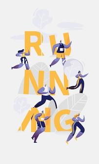 Corridore di maratona che esegue banner di tipografia di competizione sportiva.