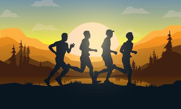 Sagome di corridori di maratona.