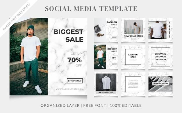Modello di post di vendita di social media di moda con sfondo in marmo