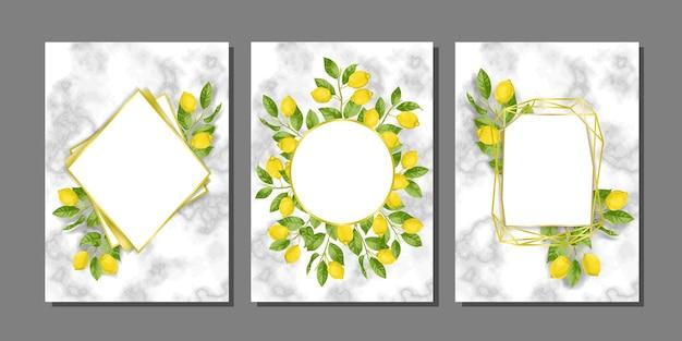 Modelli di carte in marmo impostati con brunch al limone