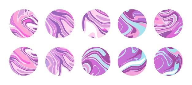 Cerchi in marmo o resina epossidica con vibranti trame di marmo liquido colorato nella tavolozza dei colori rosa viola. icone rotonde astratte per copertine di evidenziazione. sfondi per storie di social media. stampa vettoriale alla moda.