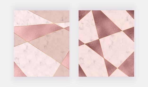 Design geometrico in marmo con trama triangolare in foglia rosa e oro rosa, linee poligonali dorate.