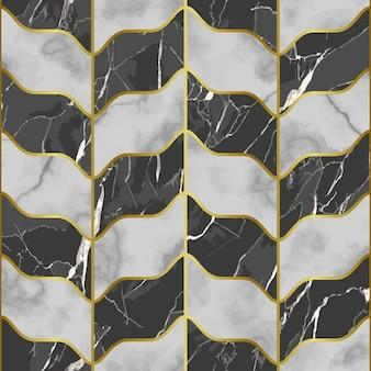 Modello senza cuciture in marmo con decorazioni dorate per sfondi, stampe tessili ripetono sfondi