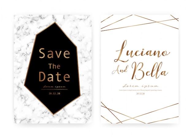 Carta di invito matrimonio in marmo, salva la carta di nozze data, design moderno con trama di marmo Vettore Premium