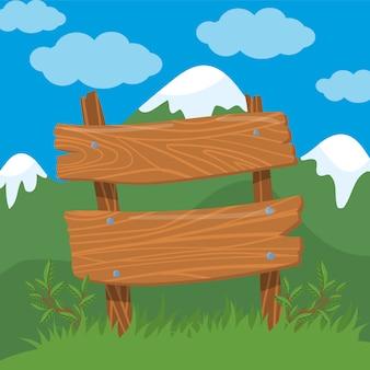 1 marzo, ciao, primavera. segno del bordo di legno sull'illustrazione del fondo del paesaggio della molla, stile del fumetto