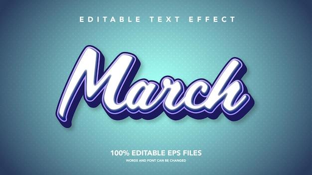 Marzo modello 3d effetto testo blu