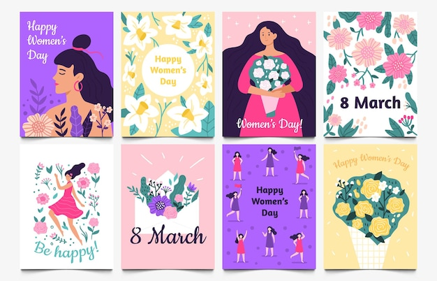 8 marzo carte. lady with flowers, international womens day e be happy greeting card set.