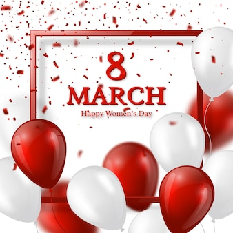 8 marzo biglietto di auguri per la giornata internazionale della donna. cornice in vetro realistico con palloncini e coriandoli.