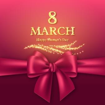 8 marzo biglietto di auguri per la giornata internazionale della donna. design dorato glitterato con fiocco realistico.