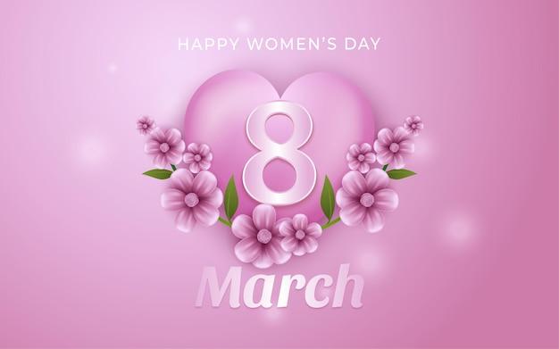8 marzo, sfondo del giorno della donna felice con fiore in illustrazioni in stile realistico