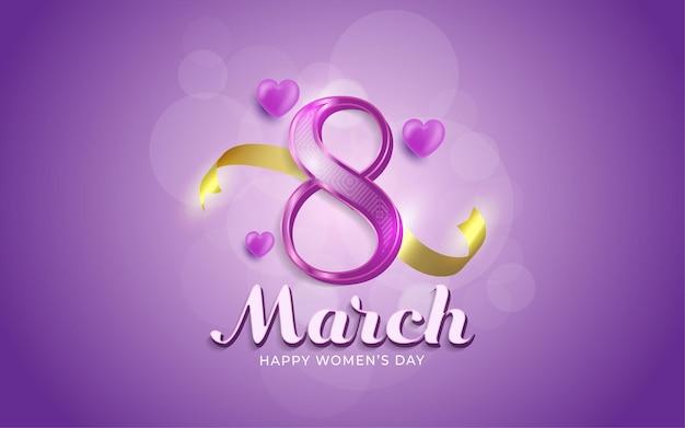 8 marzo, giornata della donna felice in stile realistico