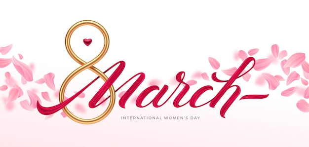 8 marzo - biglietto di auguri per la giornata internazionale della donna. numero d'oro otto
